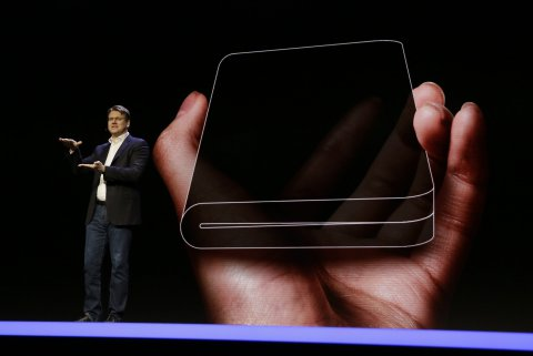 Justin denison SVP of mobile product developmennt talks about the infinity flex display of a folding smartphone